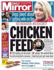 Daily Mirror front page for 9 July 2020