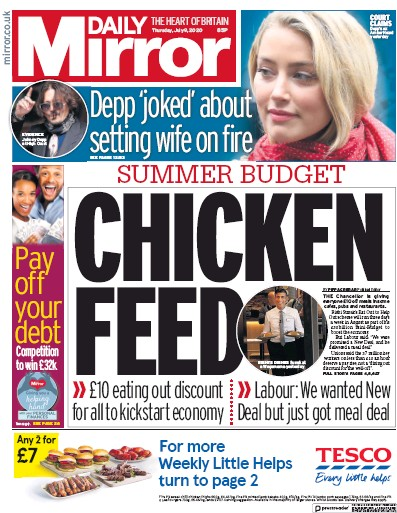Daily Mirror Newspaper Front Page (UK) for 9 July 2020