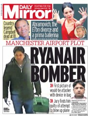 Daily Mirror (UK) Newspaper Front Page for 9 August 2017