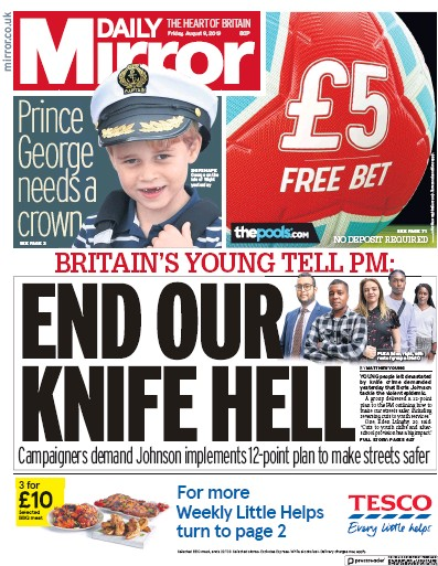 Daily Mirror Newspaper Front Page (UK) for 9 August 2019