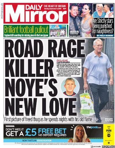 Daily Mirror Newspaper Front Page (UK) for 9 September 2019