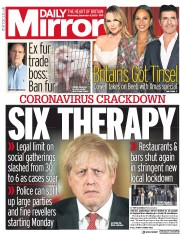 Daily Mirror front page for 9 September 2020