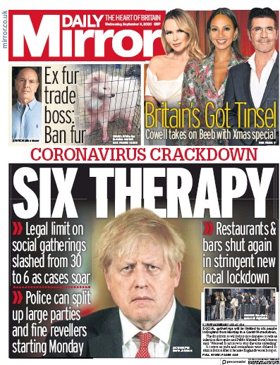 Daily Mirror Newspaper Front Page (UK) for 9 September 2020