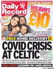 Daily Record (UK) Newspaper Front Page for 11 January 2021