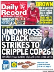 Daily Record () Newspaper Front Page for 1 July 2021