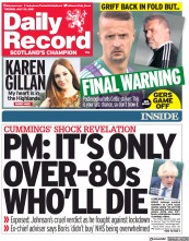 Daily Record () Newspaper Front Page for 20 July 2021