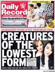 Daily Record (UK) Newspaper Front Page for 29 March 2021