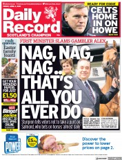 Daily Record (UK) Newspaper Front Page for 2 April 2021