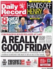 Daily Record (UK) Newspaper Front Page for 31 March 2021