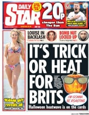 Daily Star (UK) Newspaper Front Page for 10 October 2017