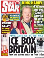 Daily Star (UK) Newspaper Front Page for 10 December 2018