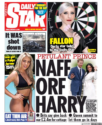 Daily Star Newspaper Front Page (UK) for 10 January 2020