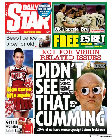 Daily Star Newspaper Front Page (UK) for 10 July 2020