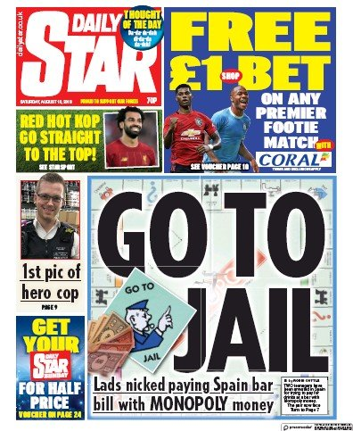 Daily Star Newspaper Front Page (UK) for 10 August 2019