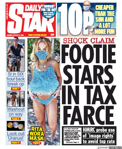 Daily Star Newspaper Front Page (UK) for 10 August 2020
