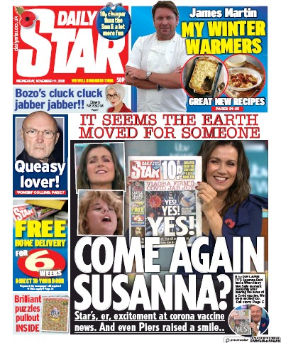 Daily Star Newspaper Front Page (UK) for 11 November 2020