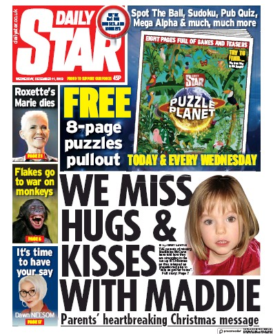 Daily Star Newspaper Front Page (UK) for 11 December 2019