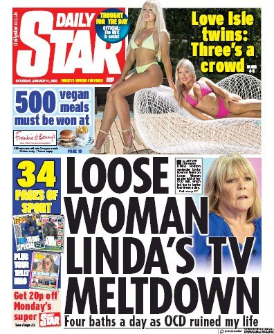 Daily Star Newspaper Front Page (UK) for 11 January 2020