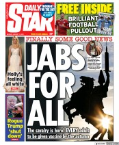 Daily Star (UK) Newspaper Front Page for 11 January 2021