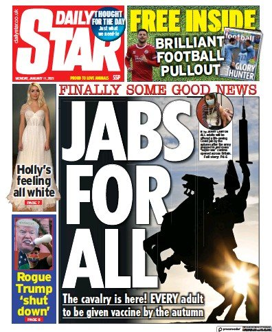 Daily Star Newspaper Front Page (UK) for 11 January 2021