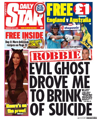 Daily Star Newspaper Front Page (UK) for 11 July 2019