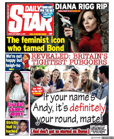 Daily Star Newspaper Front Page (UK) for 11 September 2020