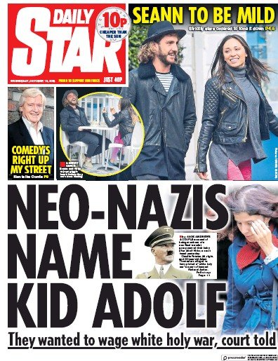 Daily Star Newspaper Front Page (UK) for 12 October 2018