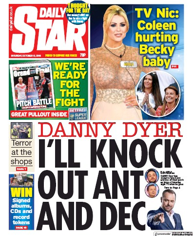 Daily Star Newspaper Front Page (UK) for 12 October 2019