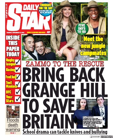 Daily Star Newspaper Front Page (UK) for 12 November 2019