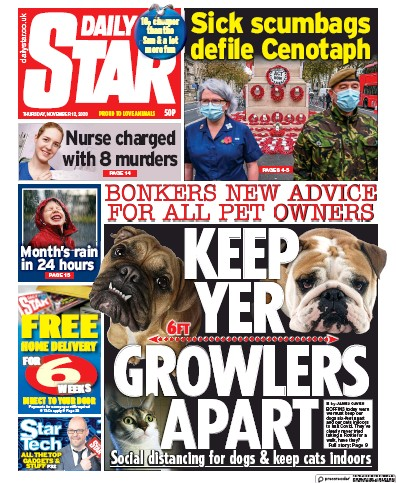 Daily Star Newspaper Front Page (UK) for 12 November 2020