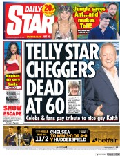 Daily Star (UK) Newspaper Front Page for 12 December 2017