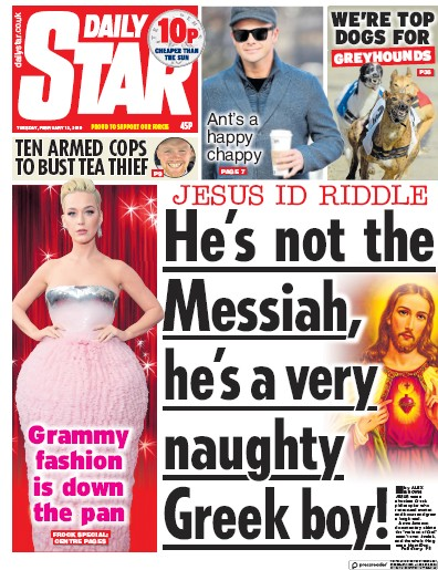 Daily Star Newspaper Front Page (UK) for 12 February 2019