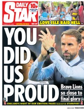 Daily Star (UK) Newspaper Front Page for 12 July 2018