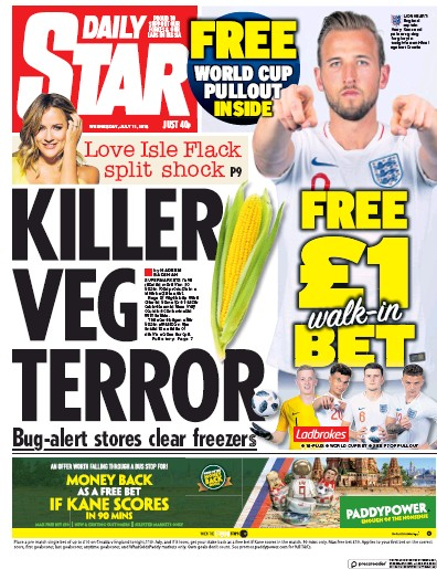 Daily Star Newspaper Front Page (UK) for 12 July 2018