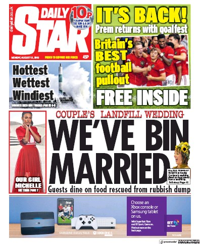 Daily Star Newspaper Front Page (UK) for 12 August 2019