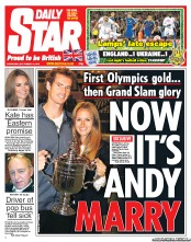 Daily Star Newspaper Front Page (UK) for 12 September 2012
