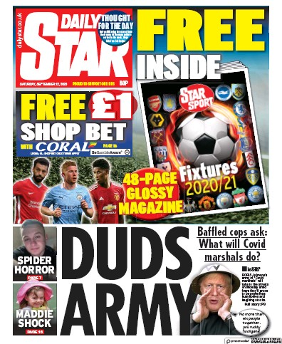 Daily Star Newspaper Front Page (UK) for 12 September 2020