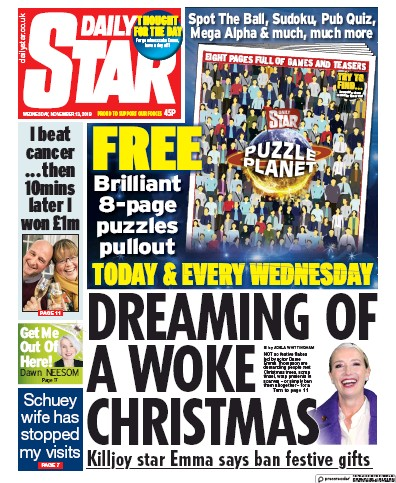 Daily Star Newspaper Front Page (UK) for 13 November 2019