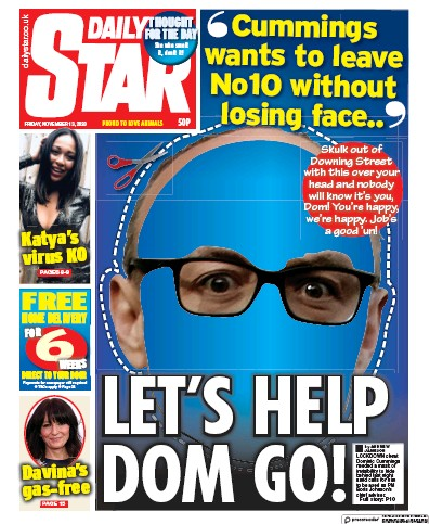 Daily Star Newspaper Front Page (UK) for 13 November 2020