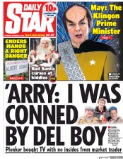 Daily Star (UK) Newspaper Front Page for 13 December 2018