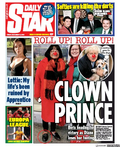 Daily Star Newspaper Front Page (UK) for 13 December 2019