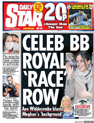 Daily Star Newspaper Front Page (UK) for 13 January 2018