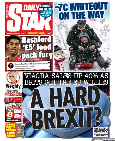 Daily Star Newspaper Front Page (UK) for 13 January 2021