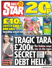 Daily Star (UK) Newspaper Front Page for 13 February 2017