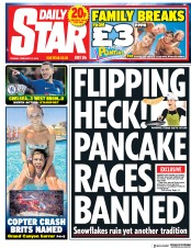 Daily Star (UK) Newspaper Front Page for 13 February 2018