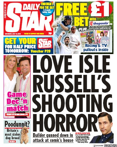 Daily Star Newspaper Front Page (UK) for 13 July 2019