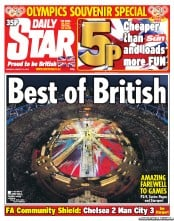 Daily Star Newspaper Front Page (UK) for 13 August 2012