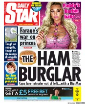 Daily Star (UK) Newspaper Front Page for 13 August 2019