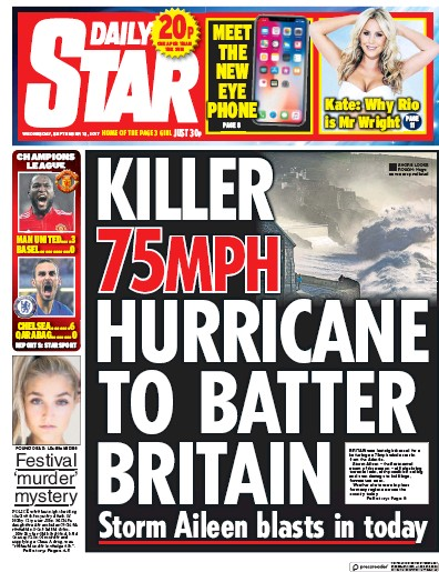 Daily Star Newspaper Front Page (UK) for 13 September 2017