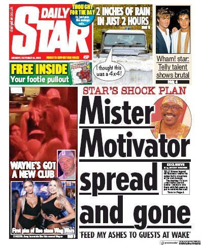 Daily Star Newspaper Front Page (UK) for 14 October 2019